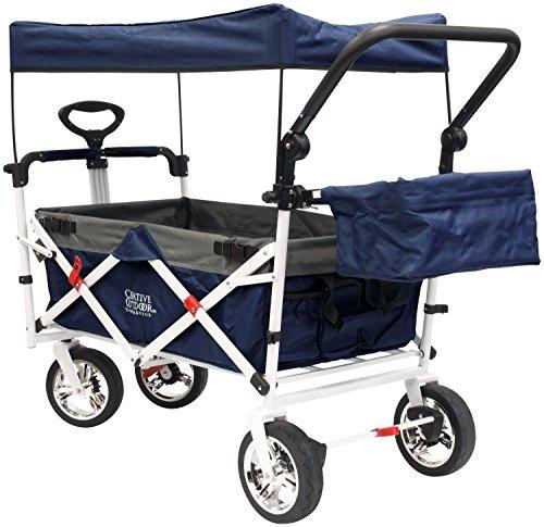 Cheap Creative Outdoor Distributor Push Pull Wagon for Foldable with Sun/Rain Shade (Navy)