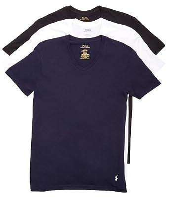 46fc7bb994c0 Image Unavailable. POLO RALPH LAUREN Classic V-Neck T-Shirts 3-Pack ...
