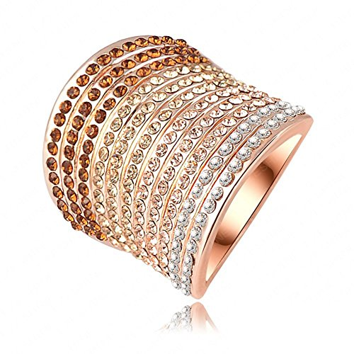 FENDINA Womens Jewelry Luxurious 18K Rose Gold Plated Annulus 4 Color Cubic Zirconia Promise Eternity Ring Engagement Wedding Anniversary Band Her
