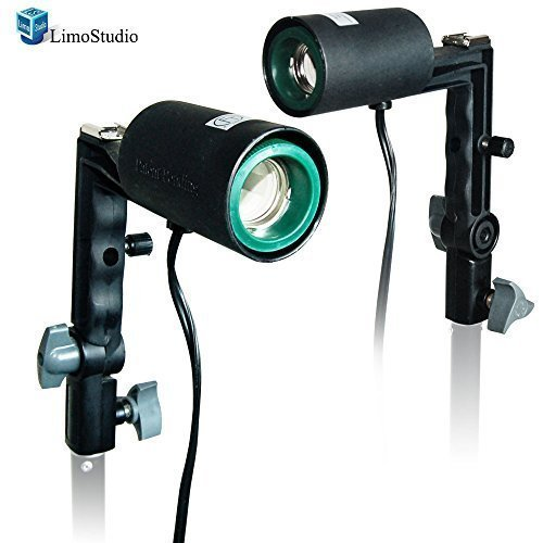 LimoStudio 2X Photography Studio Single Light Head Bulb Holder E26/E27 with Hot Shoe Mount, AGG1383 by LimoStudio