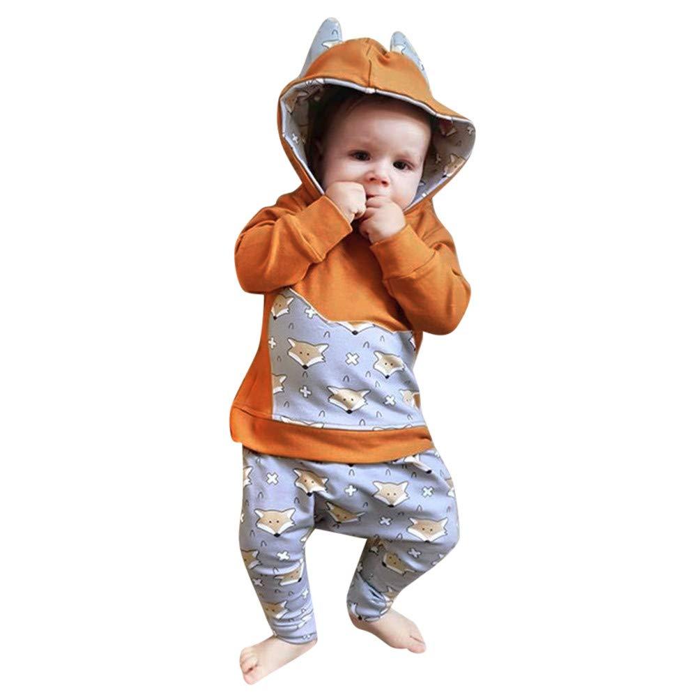 ☺HWTOP Hoodies + Hosen Kleinkind Baby Junge Sweatshirts Sporthosen Cartoon Ears Fox Tarnung Pulli Tops Premium Trainingsanzü ge Sets