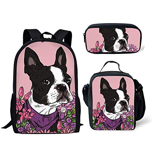 (FANCOSAN 3 Pcs Backpack Set Flower Boston Terrier Kids School Backpack 3 Pieces Bookbag + Thermal Lunch Bag + Pencil Case,Pink)