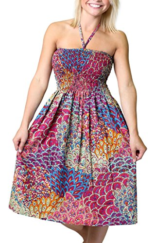 (Alki'i One-Size-fits-Most Tube Dress/Coverup with Peacock Print - Pink)