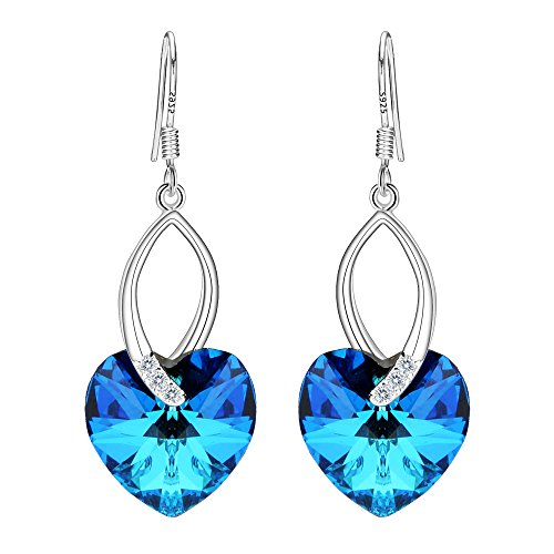 EleQueen 925 Sterling Silver CZ Love Heart French Hook Dangle Earrings Bermuda Blue Made with Swarovski Crystals - Ring Crystal Bermuda