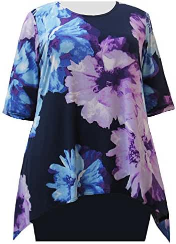 A Personal Touch Blue Blossom Sharkbite Hem Women's Plus Size Top