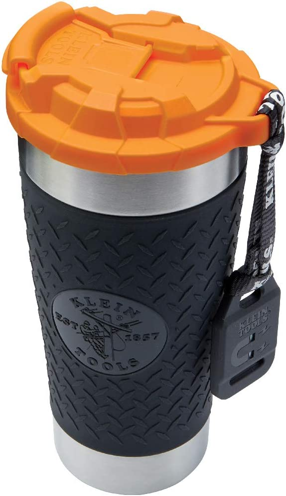 Klein Tools 55580 Stainless Steel Tumbler with Flip-top Lid, Insulated 20 oz. Tradesman's Double Wall Vacuum Mug, Slip-resistant Sleeve