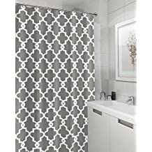 Fabric Shower Curtain 72''x72'', GagaKing Morocco Waterproof Mildew Resistant Shower Curtain, Metal Copper buckle, 12pcs Plastic Hooks (Light Grey)