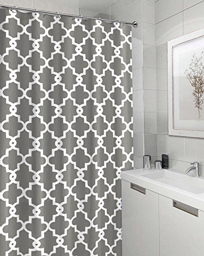 Eve Split Geometric Patterned Water-Repellent Fabric Shower Curtain,Window Panel Drapes Drapes for Bedroom 72-Inch by 72-Inch (Drapes Bathroom)
