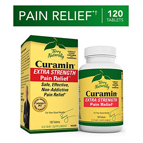 Terry Naturally Curamin Extra Strength - 120 Vegan Tablets - Non-Addictive Pain Relief Supplement with Curcumin from Turmeric, Boswellia & DLPA - Non-GMO, Gluten-Free - 40 Servings (Best Supplements For Strength)