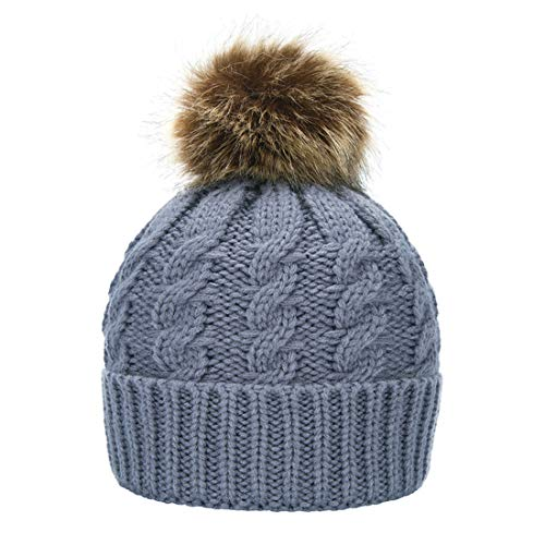 - Janrely Womens Winter Hand Knit Faux Fur Pompoms Beanie Hat (Grey)