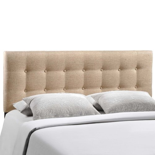 modway emily upholstered tufted button fabric king size headboard in navy