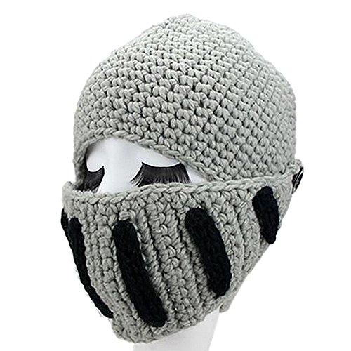 GIANCOMICS Roman Cosplay Knight Helmet Visor Knit Beanie Hat Winter Mask Cap Grey