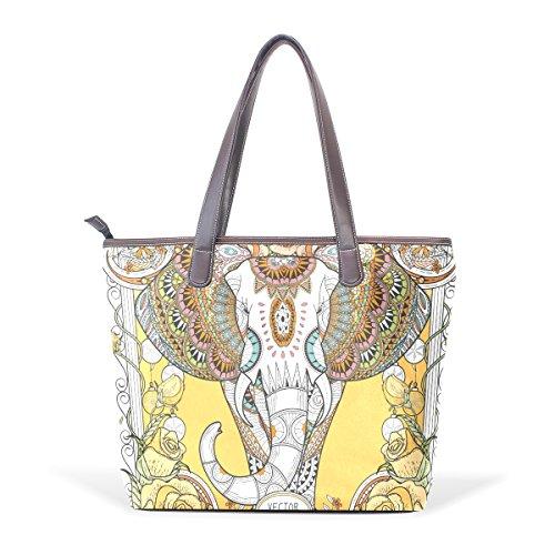 COOSUN Espléndidas elefante grandes mango de cuero Bolsa de hombro bolsa de asas de mano de PU L (33x45x13) cm Multicolor # 001