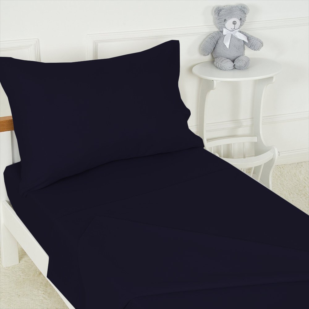 Crafts Linen Toddler Sheet Set Navy Blue (1 Fitted Sheet, 1 Top Flat Sheet and 1 Pillowcase) Super Soft HIGHEST QUALITY Crib Sheets Set toddler sheets - Baby Bedding Sheets & Pillowcase Sets
