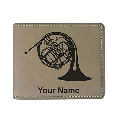 Faux Leather Wallet, French Horn, Personalized Engraving Included (Light Brown)