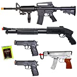 NEW Lot of 5 Airsoft Guns M16 Rifle Shotgun Machine Pistols & 1000 6mm BBs