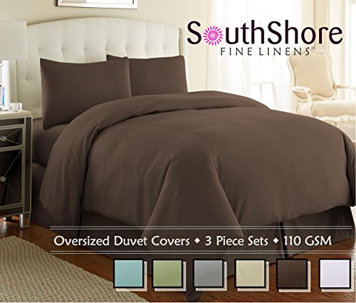 Southshore Fine Linens - 3 Piece Oversized Duvet Cover Set - Chocolate Brown - King/California King