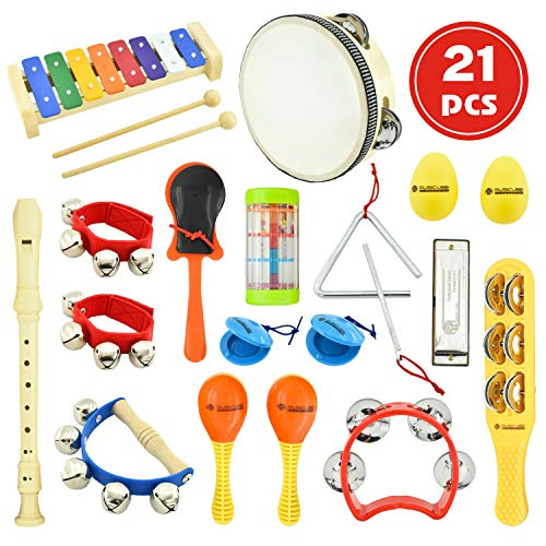 MUSICUBE Kids Musical Instrument Toys 14 Types 21 Pcs Musical Toys for Girls and Boys Educational Toys for Baby Toddler…
