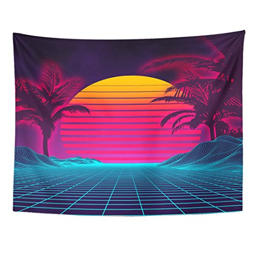 TOMPOP Tapestry Retro Futuristic Landscape 1980S Digital Cyber 80S Party Sci Home Decor Wall Hanging for Living Room Bedroom Dorm 60x80 Inches]()