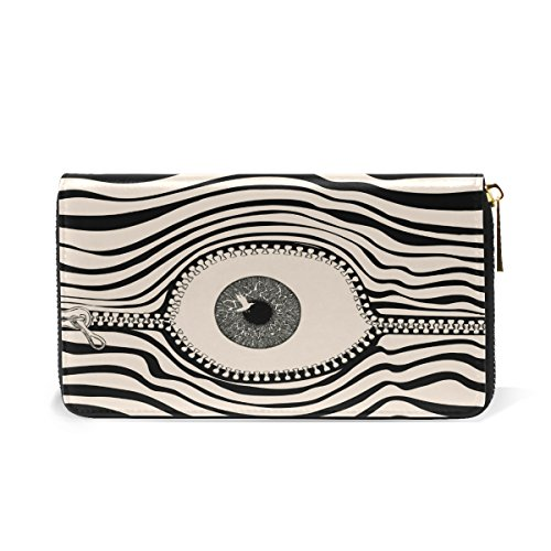 Stripe Halloween Zipper Eyeball Real Leather Clutch Purse Wallet Handbag Card Holder