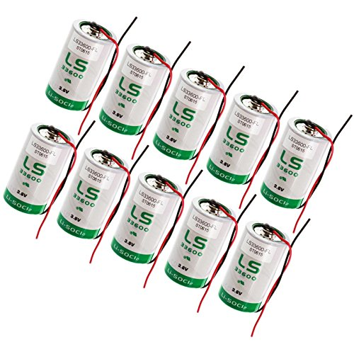 10x SAFT LS33600_WIRE D 3.6V 1700mAh Primary Lithium Thionyl Chloride Battery by Exell Battery