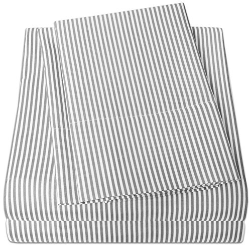1500 Supreme Collection Bed Sheets - PREMIUM QUALITY 4-PIECE BED SHEET SET, SINCE 2012 - Deep Pocket Wrinkle Free Hypoallergenic Bedding - 4 Piece Set - Gray Stripe - Queen