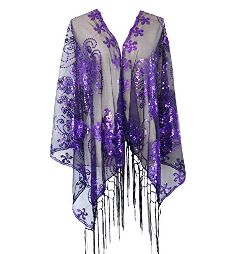 (L'vow Women's Glittering 1920s Scarf Mesh Sequin Wedding Cape Fringed Evening Shawl Wrap(Purple) )