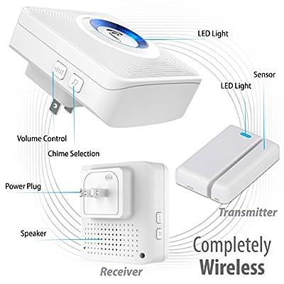 Fosmon WaveLink 51036HOMUS Wireless Door Open Chime (120M/400FT | 52 Tunes | 4 Volume Levels | LED Indicators) 2 Magnetic Door Entry Alert Security Contact Sensor, 2 Wireless Doorbell Plugin Receiver