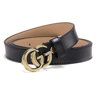 9074b356 TOMSBERY Women's Luxury Genuine Leather G Belt Fashion Slim Thin ...