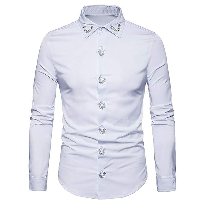 Camisa de Manga Larga con Cuello en V para Hombre de Hipster Fit Embroidery Tops Blusa de Internet.: Amazon.es: Ropa y accesorios