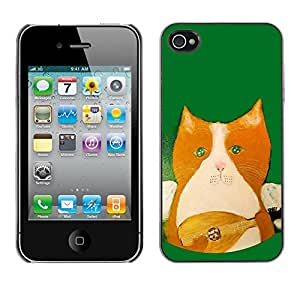 Soft Silicone Rubber Case Hard Cover Protective Accessory Compatible with Apple iPhone? 4 & 4S - mandolin instrument playing green