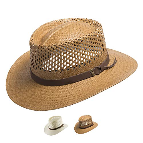 Ultrafino Monte Carlo Golf Airway Vented Gambler Straw Hat Putty 7 1/2 ()
