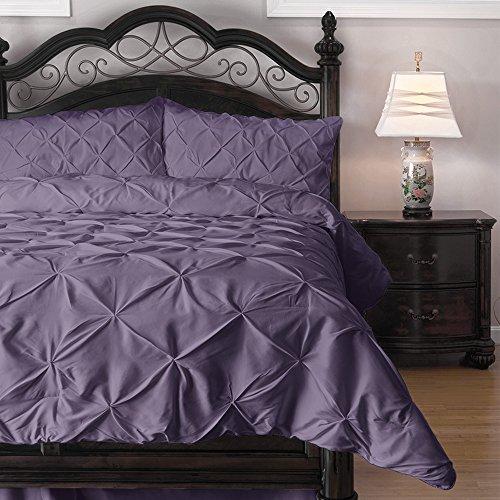 Emerson Pinch Pleat 4-Piece Lightweight Summer Comforter Set, Queen, Purple