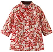 Mud Kingdom Little Girls Flowers Padded Qipao Coat Traditional Chinese New Year