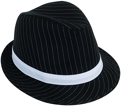 Loftus International Loftus 1920S Gangster Mob Boss Costume Pinstripe Fedora, Black White, One Size Novelty Item -
