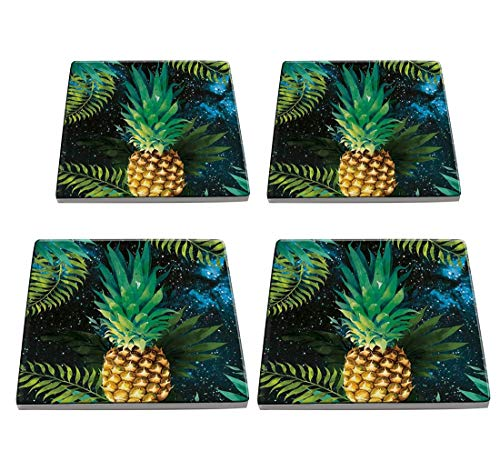 KristiPeterson Pineapple Custom Fashion Personalized Exquisite Square Ceramic Coasters 4 Pieces Sets Of Christmas ()