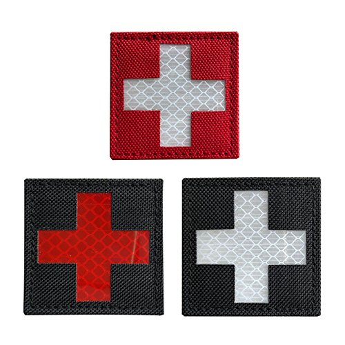 Bundle 3 Pieces - Reflective Medic Red Cross EMS EMT MED Tactical Patch Hook-Fastener Backing 2x2 inch