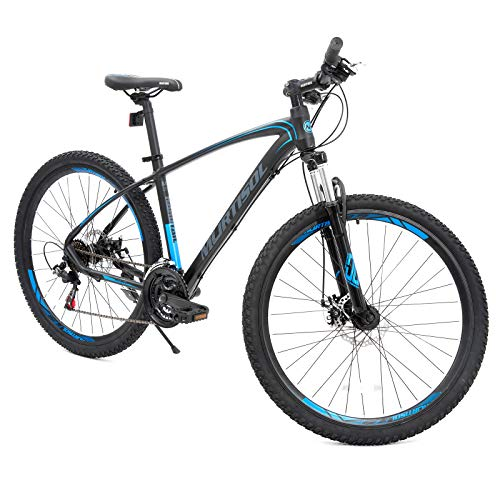 Murtisol Aluminum Mountain Bike 27.5'' Hybrid Bicycle with Dual Disc Brake, 21 Speeds Derailleur, Light Weight Frame, Suspension Fork, Adjustable Seat in 2 Colors
