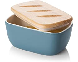 DOWAN Butter Dish, Ceramic Butter Dish with Lid for Countertop, Large Butter Dish Holds up to 2 Sticks, Haze Blue Butter Keep