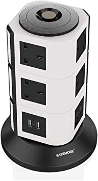 SAFEMORE Tower Extension Lead 14 Socket and 4 USB Plug Vertical Power Strip Individually Switched Charging Station with Overload Protection,2M Cable-Black