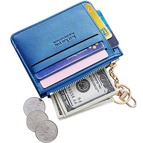(Cyanb Slim Leather Credit Card Case Holder Front Pocket Wallet Change Purse for Women Girls with keychain Deep Purple Pearized)