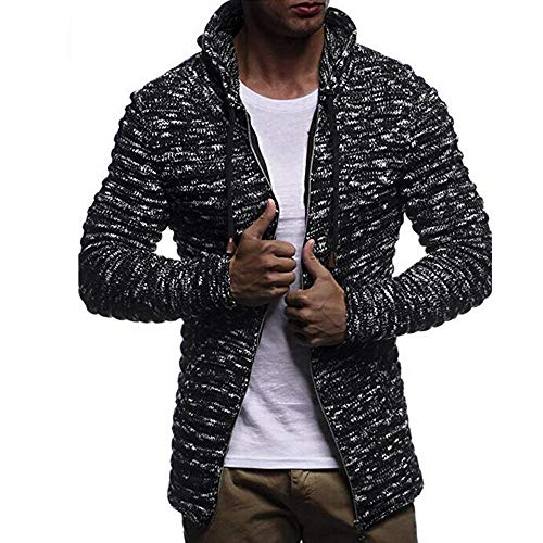 Coats Jacket Sleeve Mens Black BHYDRY Blouse Solid Autumn Outwear Winter Stripe Long Knit g5w40T