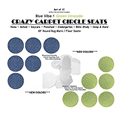 CHILDREN'S CRAZY CARPET CIRCLE SEATS - Blue Vibe & Green Limeade Set | 18 Round Rug Mats / Floor Seats SCHOOL & HOME Favorite (Set of 12 Seats - 6 Blue/ 6 Green)