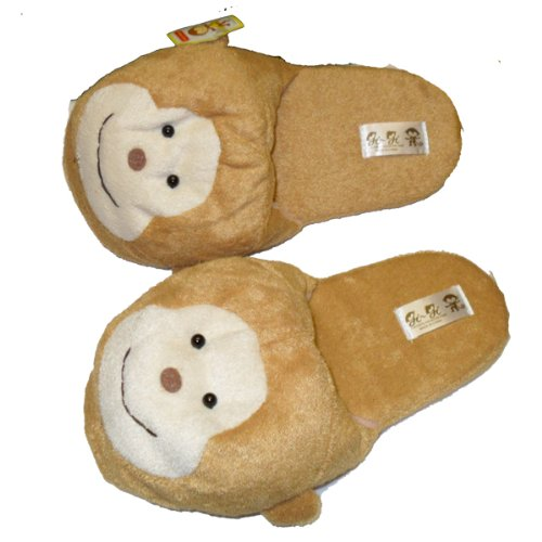 Soft Soles Monkey - Fuzzy Soft Monkey Plush Cushion Indoor Outdoor Non Slip Sole Slippers Brown -M