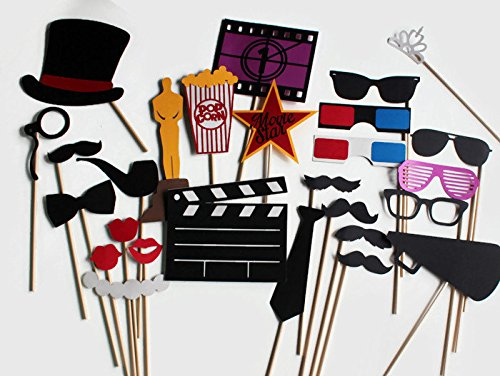Movie Photo Booth Props - 27 Pc Hollywood Wedding Party Collection by Paper and - With Actress Hollywood Glasses