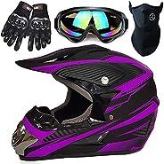 Motocross Helmet Handsome Teen Adult ATV Motorcycle Helmet SUV Mask Goggles Gloves,Fashion Dirt Bike Off-Road