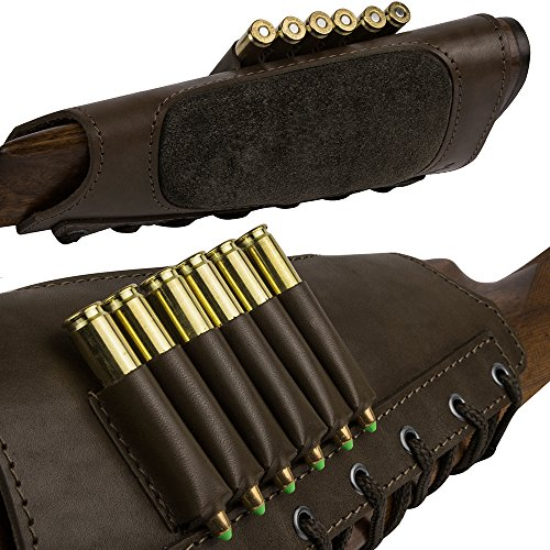 BronzeDog Leather Cartidge Buttstock Shotgun Shell Holder, Hunting Buttstock Ammo Holder Pouch...