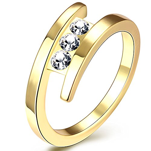 Naivo 18K Gold Plated 3 Stone Design Ring