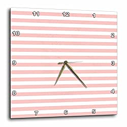3dRose Anne Marie Baugh - Stripes - Pink and White Bold Stripes - 10x10 Wall Clock (dpp_283101_1)