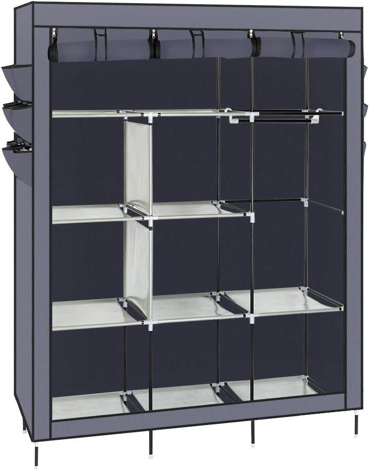 Portable Closets for Hanging Clothes,Non Woven Wardrobe Cloths Storage Waterproof Sturdy ,Quick and Easy to Assemble,High Feet with Side Cloth Storage(3 Color Options)